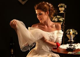 Подвенечное платье с жемчугом и бисером